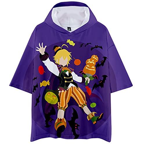 Camiseta masculina The Seven Deadly Sins Meliodas Camisetas com estampa 3D Anime Casual Manga Curta Tops para Meninos, E, 4XG