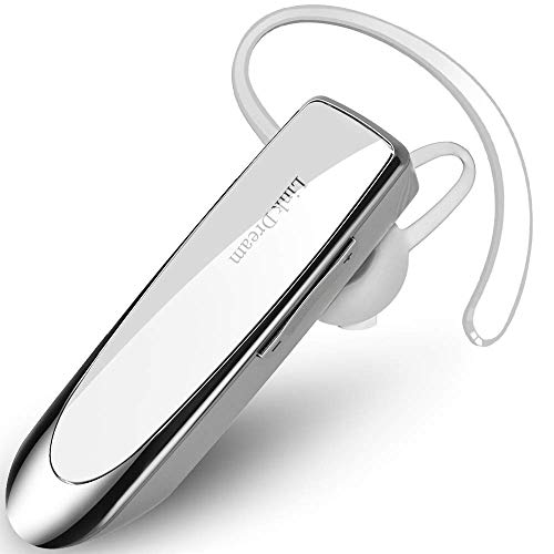 Link Dream Bluetooth Earpiece for Cell Phone Hands Free Wireless Headset Noise Cancelling Mic 24Hrs Talking 1440Hrs Standby Compatible with iPhone Samsung Android for Driver Trucker (White)
