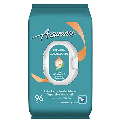 Assurance Premium Extra Large Pre-moistened Disposable Washcloths Easy Press-open Lid 96ct (3 Packs 288ct Total)