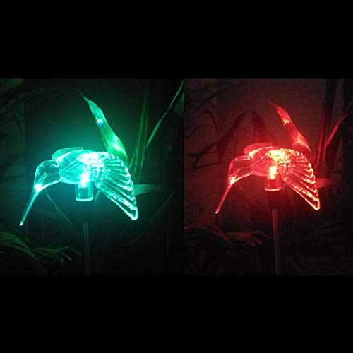 Solar Powered Garden Lights, 2 Pack Color Changing LED Landscape Path Lights Outdoor Figurine Lights in-ground Light Decorative Stake Light for Pathway Lawn Patio Driveway Yard, Hummingbird
