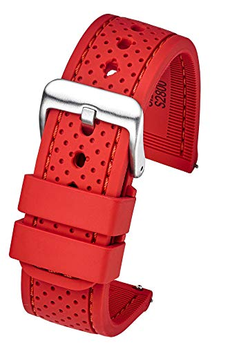 Premium Quality Waterproof Silicone Watch Band Strap with Quick Release – Soft Rubber red Watch Band 24mm