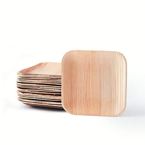 Plantvibes 25 edle Palmblatt-Teller, kompostierbar & CO2-neutral, rechteckige und runde Einweg-Teller aus Palmblatt, Party-Geschirr, Palmblatt-Geschirr