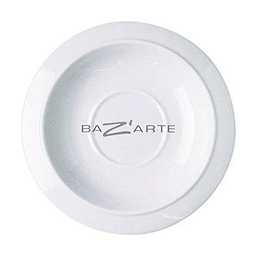 Alessi Tac1/79 Bavero Soucoupe Pour Tasse à Thé en Porcelaine Blanche, Set de 2 Pièces