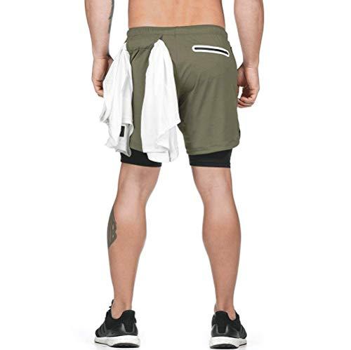 DURINM Pantalón Corto para Hombre Deporte Pantalones Cortos para Hombre 2 en 1 Pantalones Cortos de Gimnasio con Forro de Bolsillo Incorporado Fitness Shorts Deportivos