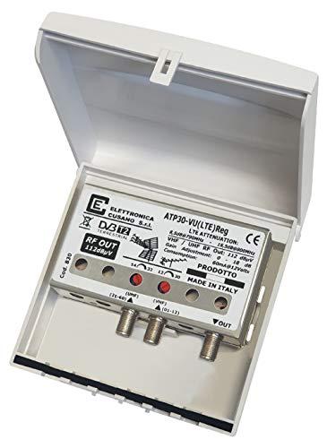 Elettronica Cusano- Amplificatore Antenna TV da Palo con Filtro Lte/4G, Guadagno Massimo 32Db (Regolabile), Amplificatore...