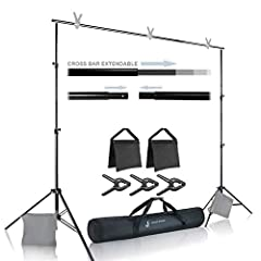 🏆The Kit Includes: [2 pcs] One Male and one female Cross Bar components / [2 pcs] Support Stand / [3 pcs] Photo Clamp / [2 pcs] Sand Bag / [1 pc] Carry Bag 🏆Professional Lightweight Support for Backdrops, Aluminum Alloy Construction for Durability & ...