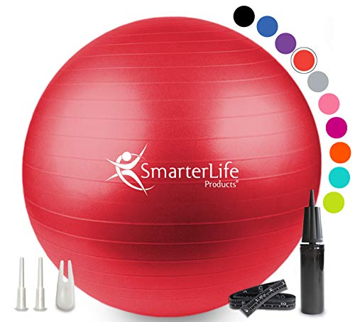 SmarterLife Exercise Ball for Yoga, Balance, Stability - Fitness, Pilates, Birthing, Therapy, Office Ball Chair, Classroom Flexible Seating - Anti Burst, Non Slip, PRO Workout Guide (Red, 65cm)
