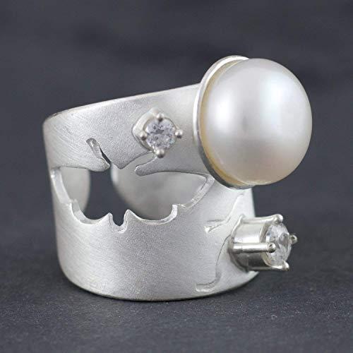 Silber-Ring Perle ausgefallene Goldschmiede-Ringe Verlobungsring handgemachter Echt-Schmuck