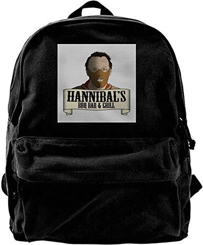 Canvas Rucksack Hannibals BBQ Bar und Grill Rucksack Gym Wandern Laptop Umhängetasche Daypack für Männer Frauen