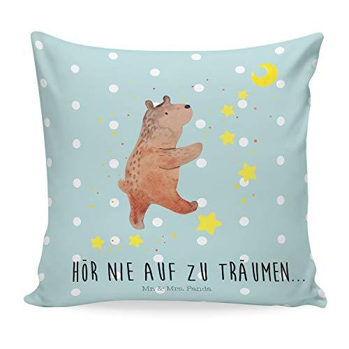 Mr. & Mrs. Panda Sofakissen, Kissenbezug, 40x40 Kissen Bär Träume mit Spruch - Farbe Türkis Pastell