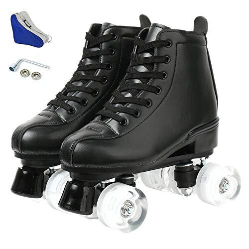 wilverz Rollschuhe zweireihige Skates verstellbare High-top Rollschuhe Indoor Outdoor Erwachsene Roller Skates (schwarz ohne Blitzrad, 40 = UK:7)