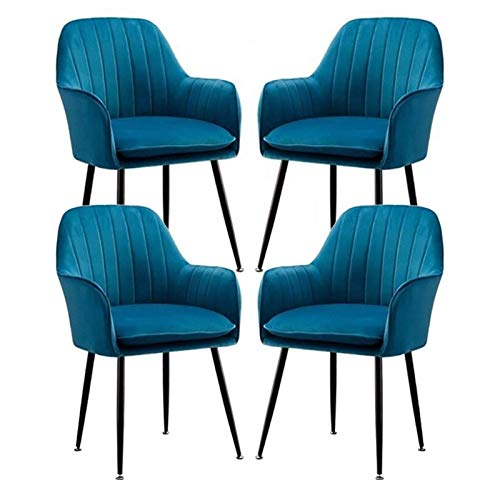 4X Dining Chairs Kitchen Chair Velvet Corner Chairs with Ergonomic Armrests Backrest and Metal Legs for Counter Lounge Living Room Reception Chair (Color : Navy Blue)