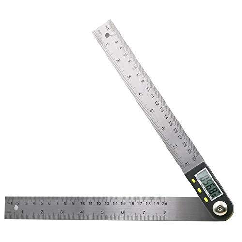200mm 360 ° Digital Winkelmesser Neigungsmesser Goniometer Pegel Messwerkzeug Elektronische Winkelanzeige Edelstahl Multifunktionswinkel Lineal (Color : 200mm)