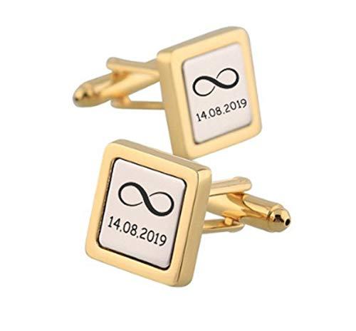 aplusashop ID Manschettenknöpfe Silber-Gold mit Gravur nach Wunsch Edelstahl Hochzeit Nr.15 mit Box (Ohne Gravur)