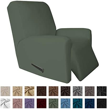 Best Easy-Going 4 Pieces Microfiber Stretch Recliner Slipcover – Spandex Soft Fitted Sofa Couch Cover,