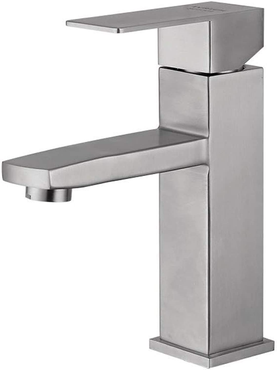 FuweiEncore 304 Stainless Steel Square Body Brushed Basin Faucet Bathroom Single Short Paragraph Hot and Cold Faucet (color   -, Size   -)