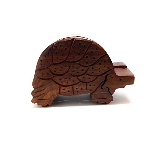 Lify All Natural Exotic Woods Puzzle Box, with Sliding Wooden Key Lock, Sliding Cover and Inner Lid to Hidden Compartment. Hand-Made Wood Onlay Design on Lid.- 1 Piece (Tortoise)