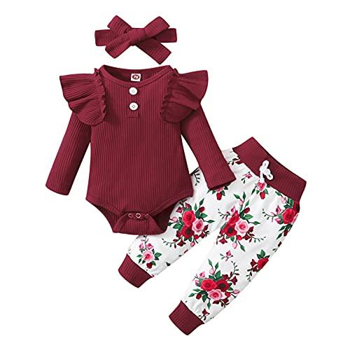 Bebé Niñas Volantes De Punto De Manga Larga Caliente Tops Mameluco Mono Leopardo Estampado Floral Pantalones Moda Casual Ropa De Dormir Trajes (Vino,12-18 meses)