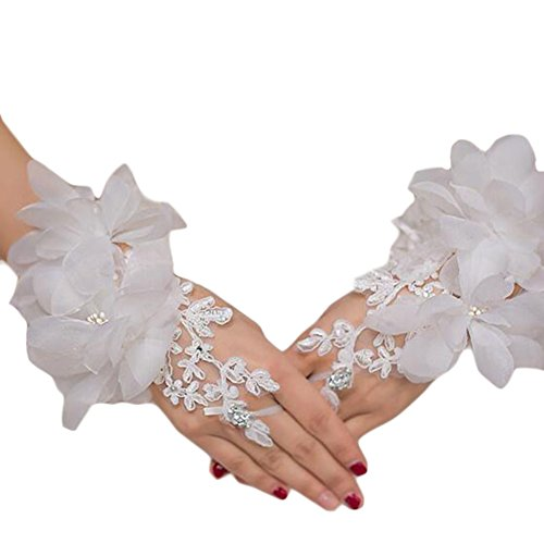 Gants de mariée en dentelle brodée Fingerless Party Gants de robe