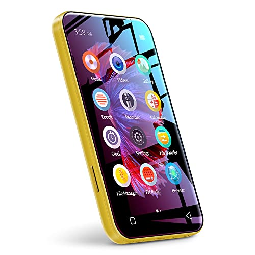 """WiFi Mp3 Player with Bluetooth, TIMMKOO 4.0"""" Full Touch Screen Mp3 Mp4 Player with WiFi Transfer, Portable HiFi Sound Walkman Digital Music Player with FM Radio,Recorder, Ebook,Clock, Browser (Yellow)"""