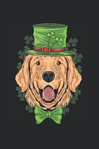 Golden Retriever mit einem Leprechaun-Hut und Kleeblatt: DIN A5 Liniert 120 Seiten / 60 Blätter Notizbuch Notizheft Notiz-Block Lustige St. Patrick's Day Saint Patricks Day