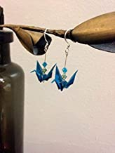 Origami Paper Crane Earrings with Teal Origami Paper, Green and Blue Swarovski Crystals, Glass Beads, and Sterling Silver Options