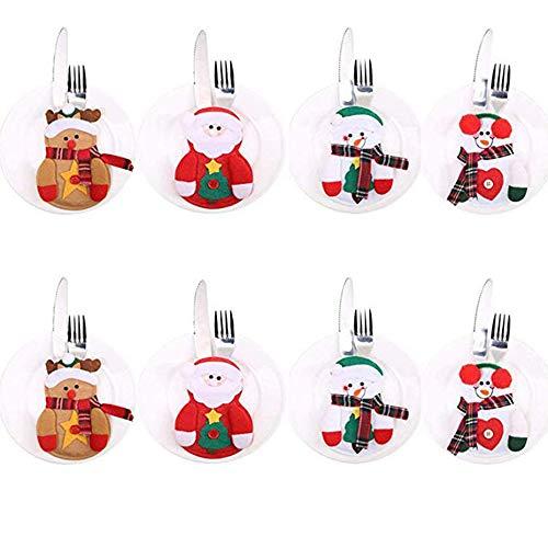 8 PCS Posate Natale da Tavolo Costume Natale Vestito di Tasche Porta Posate Portaposate...