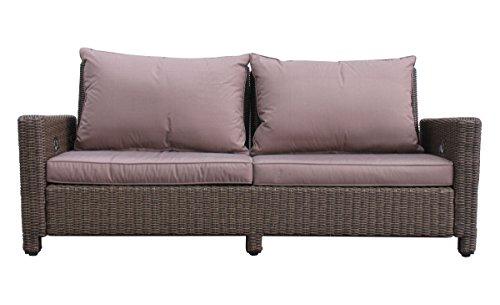 GRASEKAMP Qualität seit 1972 Rattan Lounge Sofa 200cm Couch Futon Couchgarnitur Braun