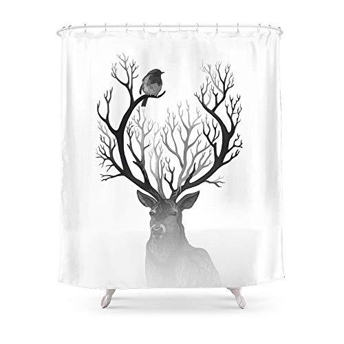 Suminla-Home Badezimmer der schwarz Hirsch Vorhang für die Dusche 182,9cm von 182,9cm