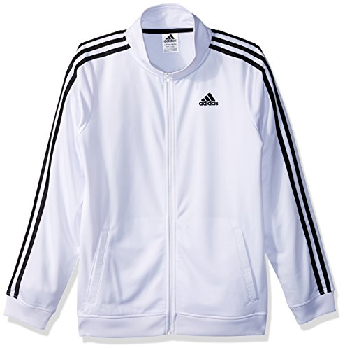 adidas Boys' Big Tricot Active Track Warm-Up Jacket, White, X-Large