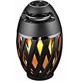 LED Flame Table Lamp, Amzchen Outdoor Torch Atmosphere Bluetooth Speakers with Stereo Sound Exclusive Bass Up HD Audio Wireless Portable Table Lamp Night Light Speaker BT 4.2 for iPhone iPad Android