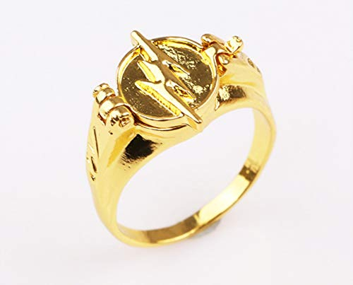 ZXH Super Heroes Series The Flash Blitz Ring Klappe Gold Ring Fashion Trendy Feature Ring,8