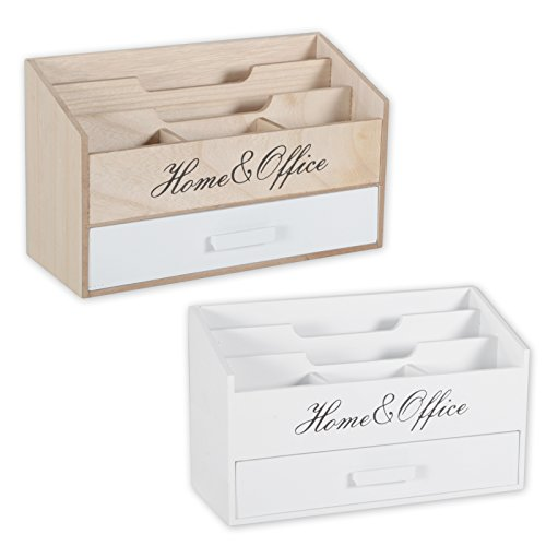 DRULINE brievenbakje voor home office, brievenbakje van hout, shabby chic country