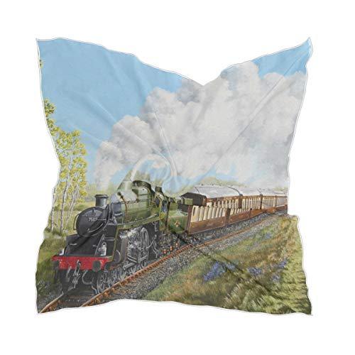 Zijden sjaal meisjes Sheer Chiffon Steam Train Spring Hike dunne hoofddeksel zakdoek
