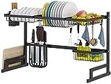 ZRB Drainer Shelf, Rack di drenaggio del Piatto del lavandino del lavello dell'Acciaio Inossidabile del Nero 201 del Lavaggio, Rack di Storage della tavola da Cucina -85 * 32 * 52 cm,Rimovibile