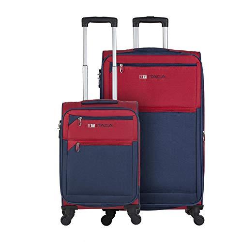 ITACA - Juego de Maletas Cabina y Grande Blandas 701017, Color Rojo-Azul Marino