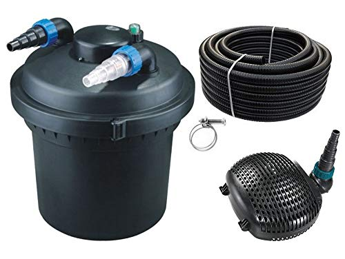 AquaOne Teich Filteranlage Set Nr.10 CPF 280 Druckfilter 16W Eco Teichpumpe Teichgröße bis 8000l Teichschlauch Bachlauf UV Lampe
