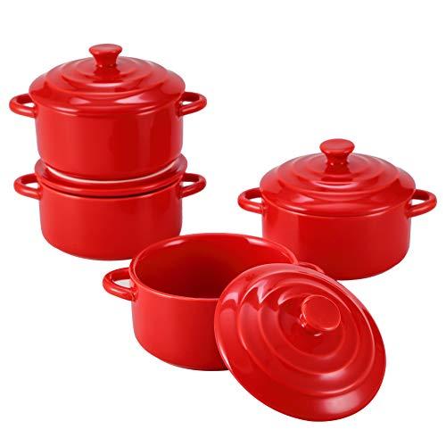 Bruntmor 8oz Oven Safe Mini Cocotte Ceramic Ramekins For Baking, Mini Casserole with Lid, Souffle Dish, Red
