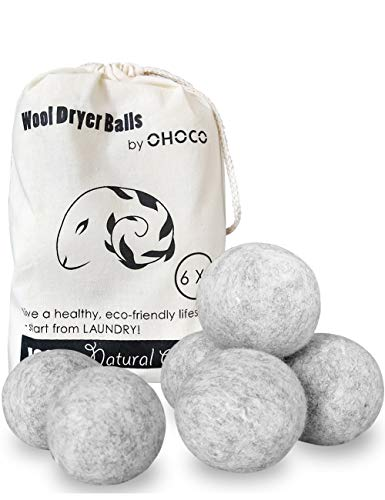 OHOCO Wool Dryer Balls 6 Pack XL, Organic Natural Wool for Laundry, Fabric Softening - Anti Static, Baby Safe, No Lint, Odorless and Reusable Gray New Hampshire