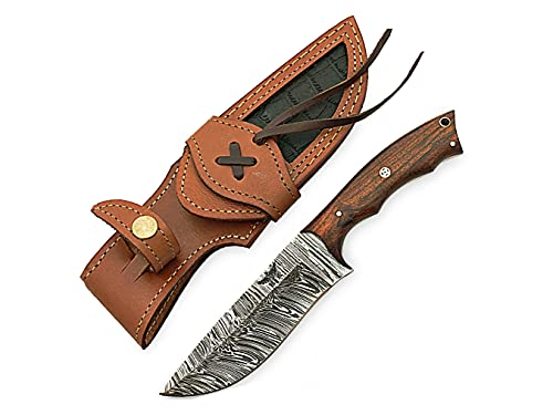 HOMETOWN KNIVES Damascus Knife for Hunting - Fixed Blade Hunting Knife with Sheath - Damascus Steel Knife with Rose Wood Handle - 9.5 Inches Handmade Camping Knife.