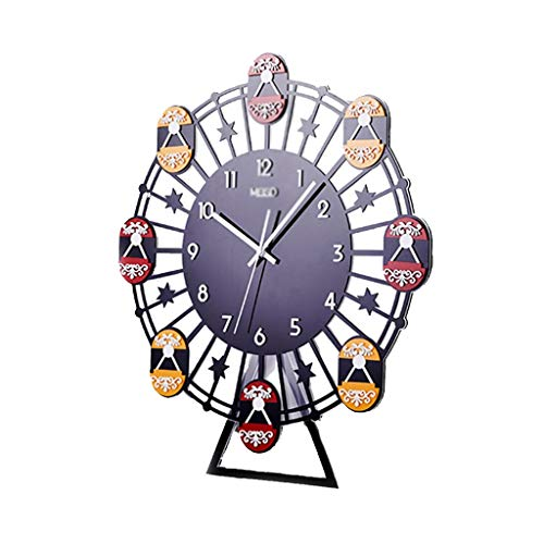 Hal Wall Clock, Eethuis Tea Shop Decoration Wall Clock Ferris Wheel Shape Plastic platen Moisture Proof Metal Pointer Antirust (Size : 24 * 48 * 55CM)