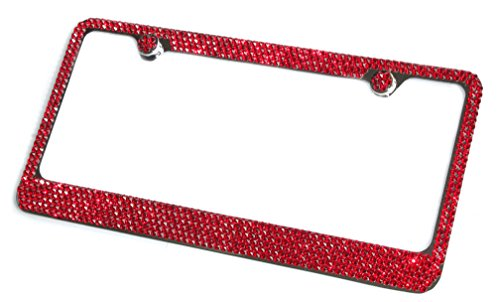 Hotblings 6 Row RED Made w/Swarovski Crystals Metal Bling License Plate Frame & Caps -  SW6R-8