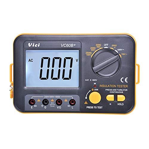 SENRISE Medidor de resistencia de aislamiento, VCB60+, medidor de resistencia de aislamiento digital, Megger Megohm, 1000 V, 0,1 ~ 2000 MΩ (negro + naranja)