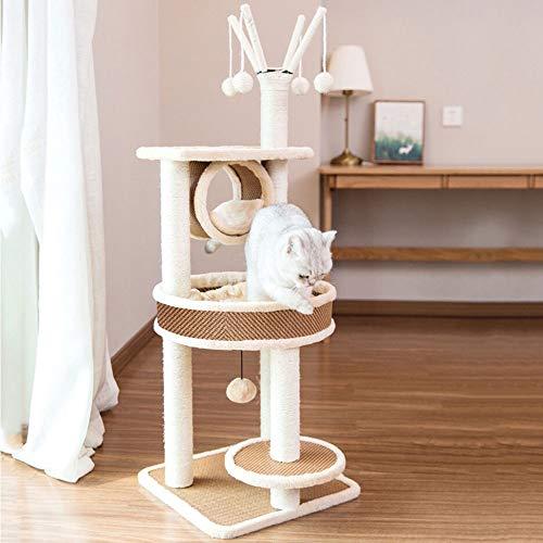 LBLA Krabpaal voor grote kat met groot Rond kattennest, kattentoren met Sisal Krabpalen Hangmat/Zitstokken Platform/Hangende bal
