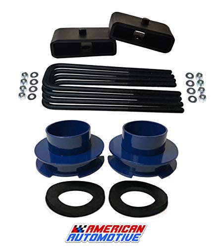 """American Automotive 1994-2002 Ram 2500 3500 Lift Kit 2WD 3"""" Blue Front Spring Spacers + 1.5"""" Rear Blocks"""