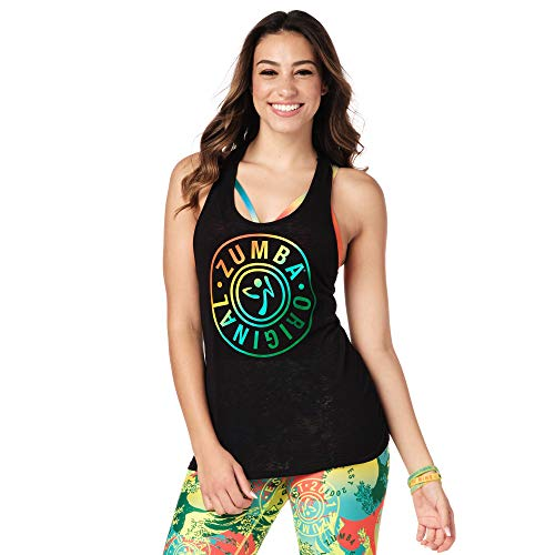 Zumba Aktiv Burnout Dance Workout Kleidung Damen Fitness-Tanktop mit Grafikdruck, Blackish Black, S