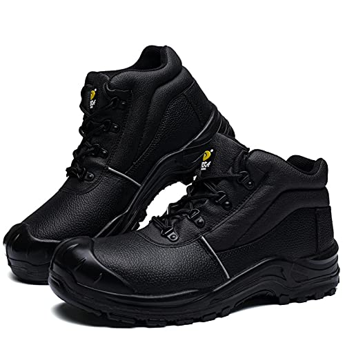 DRKA Water Resistant Steel Toe Work Boots For Men,6'' EH-Rated Safety Boots(19977-blk-45)