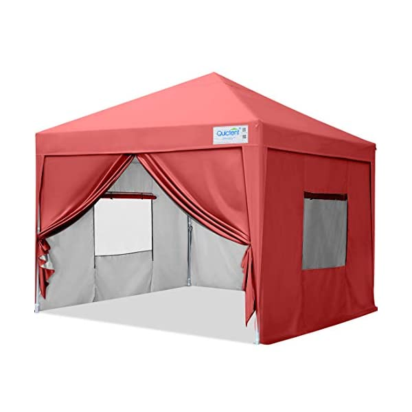 Quictent Privacy 8×8 EZ Pop Up Canopy Tent with Sidewalls and Mesh Windows Waterproof...