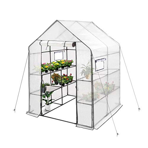 Deluxe Green House 56' W X 56' D X 77' H,Walk In Outdoor Plant Gardening Greenhouse 2 Tiers 8 Shelves - Window And Anchors Include(White)