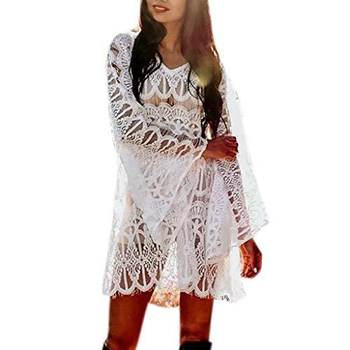 IMJONO Kleid,2019 JubiläumsfeierDamenmode Abdeckung Spitze Minikleid Anzug Bikini Bademode Strand Badeanzug Kittel(Large,Weiß)
